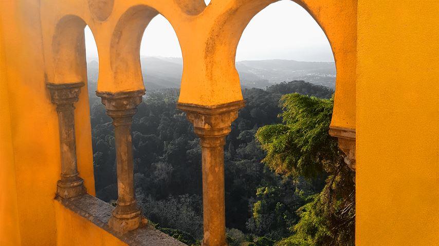 Bomen en bergen, gezien vanaf het gele dakterras van Palácio da Pena in Portugal.