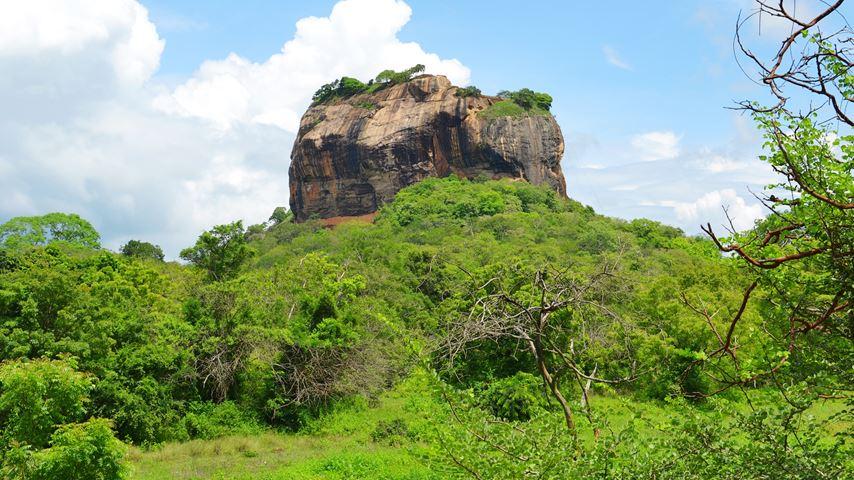 Uitzicht op Lion Rock in Sri Lanka. Een enorme rots met een paleis erop. Op de voorgrond bomen en gras.
