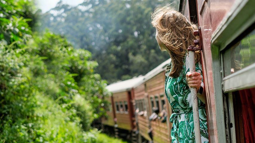 In Sri Lanka staat een vrouw in een trein. Ze kijkt naar het groene landschap achter haar.