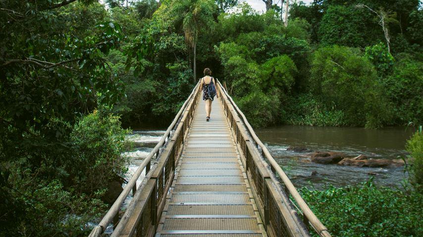 Een vrouw, op de rug gezien, loopt over een houten brug. Water stroomt onder de brug door en de omgeving is groen en de lucht is grijs.